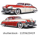 retro red white car isolated on ... | Shutterstock .eps vector #1155623419