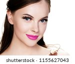 brunette woman with long... | Shutterstock . vector #1155627043