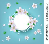 floral badge with white apple... | Shutterstock .eps vector #1155628510