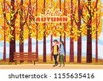 autumn alley  couple guy and... | Shutterstock .eps vector #1155635416