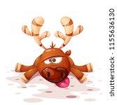 cute  funny  crazy cartoon deer ... | Shutterstock .eps vector #1155636130