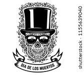 mexican sugar skull in vintage... | Shutterstock .eps vector #1155639040