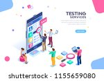 testing process  coding team on ... | Shutterstock . vector #1155659080