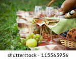 two glasses of the white wine ... | Shutterstock . vector #115565956