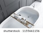 elegant white bathtub filled... | Shutterstock . vector #1155661156