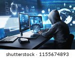 side view of hacker using...   Shutterstock . vector #1155674893