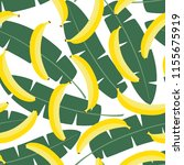 yellow pastel banana on green...   Shutterstock .eps vector #1155675919