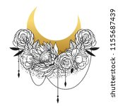 floral composition. tattoo...   Shutterstock .eps vector #1155687439