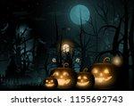 happy halloween background and... | Shutterstock .eps vector #1155692743