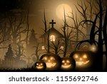 happy halloween background and... | Shutterstock .eps vector #1155692746