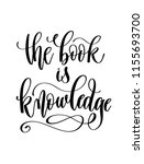 the book is knowledge   hand... | Shutterstock .eps vector #1155693700