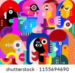 large group of people vector... | Shutterstock .eps vector #1155694690