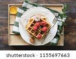 belgian waffles with honey and...   Shutterstock . vector #1155697663