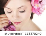 beautiful young girl with pink... | Shutterstock . vector #115570240