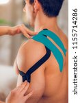 shoulder treatment with kinesio ... | Shutterstock . vector #1155714286