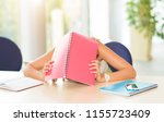 young student asleep on the... | Shutterstock . vector #1155723409