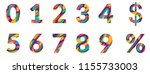paper cut numbers. blue pink 3d ... | Shutterstock .eps vector #1155733003