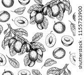 seamless vector pattern of plum ... | Shutterstock .eps vector #1155733900