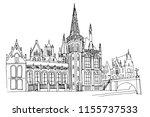 vector sketch of embankment... | Shutterstock .eps vector #1155737533