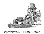 vector sketch of royal palace... | Shutterstock .eps vector #1155737536