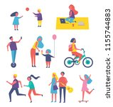 people leading active lifestyle ... | Shutterstock .eps vector #1155744883