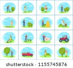 set of banners with farmer... | Shutterstock .eps vector #1155745876