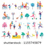 skating person on scooter... | Shutterstock .eps vector #1155745879