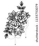 rose tattoo  mystic symbol.... | Shutterstock .eps vector #1155753079