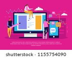 people and interfaces flat... | Shutterstock .eps vector #1155754090