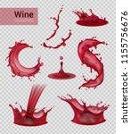 wine splash realistic set of... | Shutterstock .eps vector #1155756676
