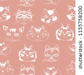 seamless pattern with cute cats ... | Shutterstock .eps vector #1155758200