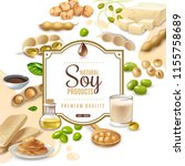 decorative frame with soy food... | Shutterstock .eps vector #1155758689