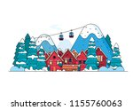 winter landscape with red... | Shutterstock .eps vector #1155760063