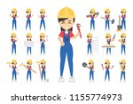 construction worker set. posing ... | Shutterstock . vector #1155774973