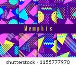 memphis seamless pattern set.... | Shutterstock .eps vector #1155777970