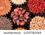 various superfoods in small... | Shutterstock . vector #1155782569