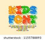 vector funny sketch alphabet... | Shutterstock .eps vector #1155788893