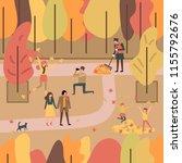 People Enjoying Autumn In A...