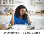 tired young african american... | Shutterstock . vector #1155792856