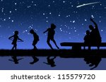 silhouettes of children playing ...   Shutterstock . vector #115579720