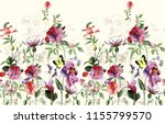 watercolor horizontal flower... | Shutterstock . vector #1155799570
