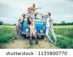 group of friends travelling... | Shutterstock . vector #1155800770