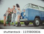 group of friends travelling... | Shutterstock . vector #1155800836