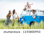 group of friends travelling... | Shutterstock . vector #1155800953