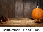 autumn pumpkins and other on a... | Shutterstock . vector #1155810106