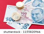 turkish lira banknotes and... | Shutterstock . vector #1155820966
