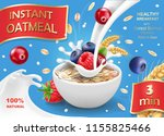 oatmeal advertising with forest ... | Shutterstock .eps vector #1155825466