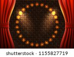 scene with open curtains and... | Shutterstock .eps vector #1155827719