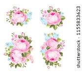 vintage flowers set overwhite... | Shutterstock .eps vector #1155833623