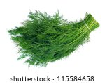 A Bunch Of Fresh Dill On White...